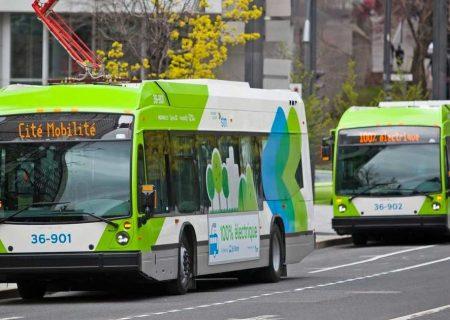 اتوبوس های برقی در خیابان های مونترال