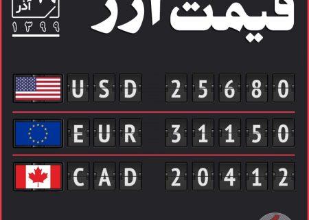 قیمت ارز ۱۹ آذر
