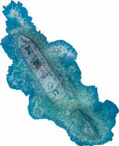 تصویربرداری هوایی از کشتی غرق شده تستلگرام در دریای سرخ