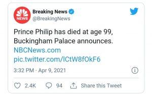 پیام مرگ همسر ملکه انگلیس