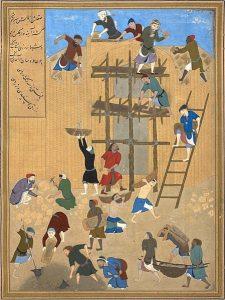 ساخت کاخ خورنق - سال ۱۴۹۴ میلادی- اثر کمال الدین بهزاد