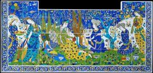 کاشیکاری ـ صحنهای از مراسم نوروز- صفویه - متعلق به قرن ۱۷ میلادی