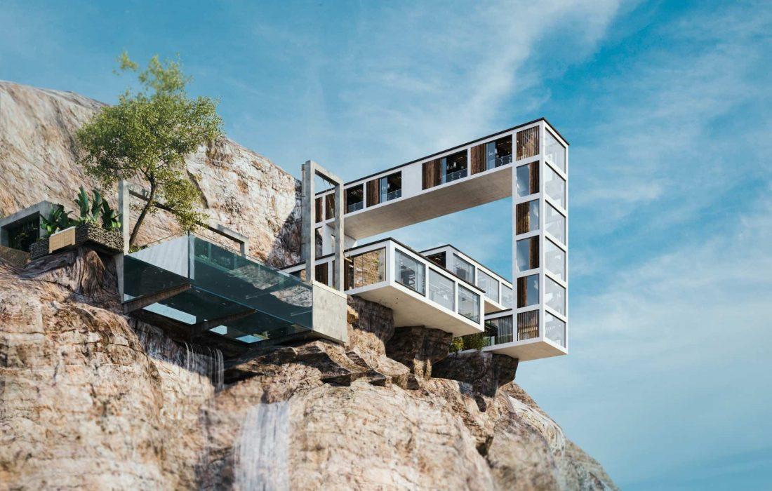 خانه کوهستانی بر فراز صخرههای بریتیش کلمبیا