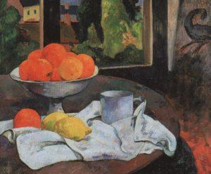 طبیعت بیجان – کاسه میوه و لیمو – ۱۸۹۰اثر پل گوگن