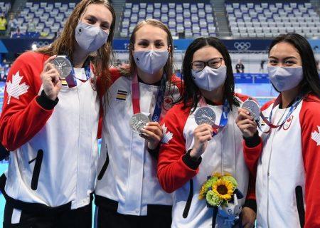 کسب اولین مدال کانادا در توکیو از سوی بانوان شناگر